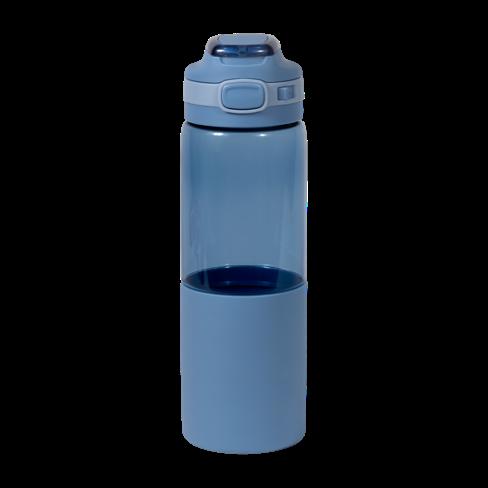 Botella de agua azul con boquilla