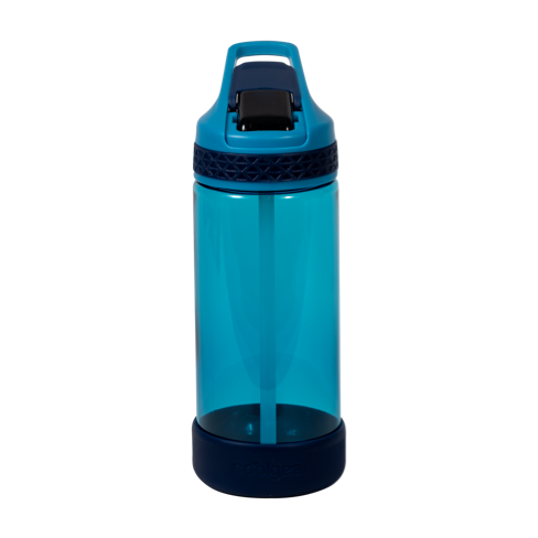 Botella de agua azul